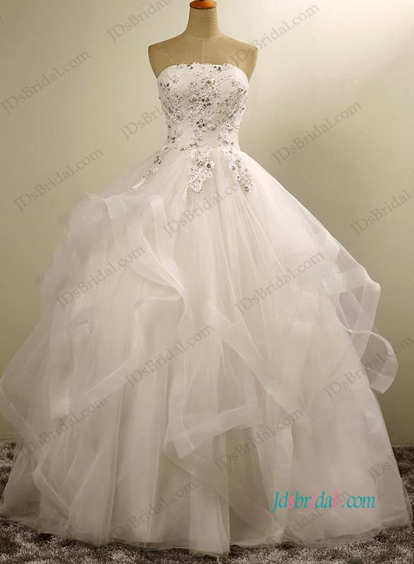 5f9db6214b51 Pretty Strapless Layered Tulle Ball Gown Wedding Dress #2693522 ...