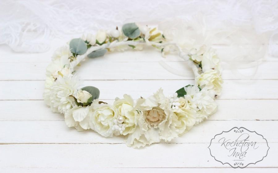Cream flower crown Boho hair accessories Flower halo Bridal crown Floral  crown Wedding flower crown Floral head wreath Wedding crown e4df69d7ff6