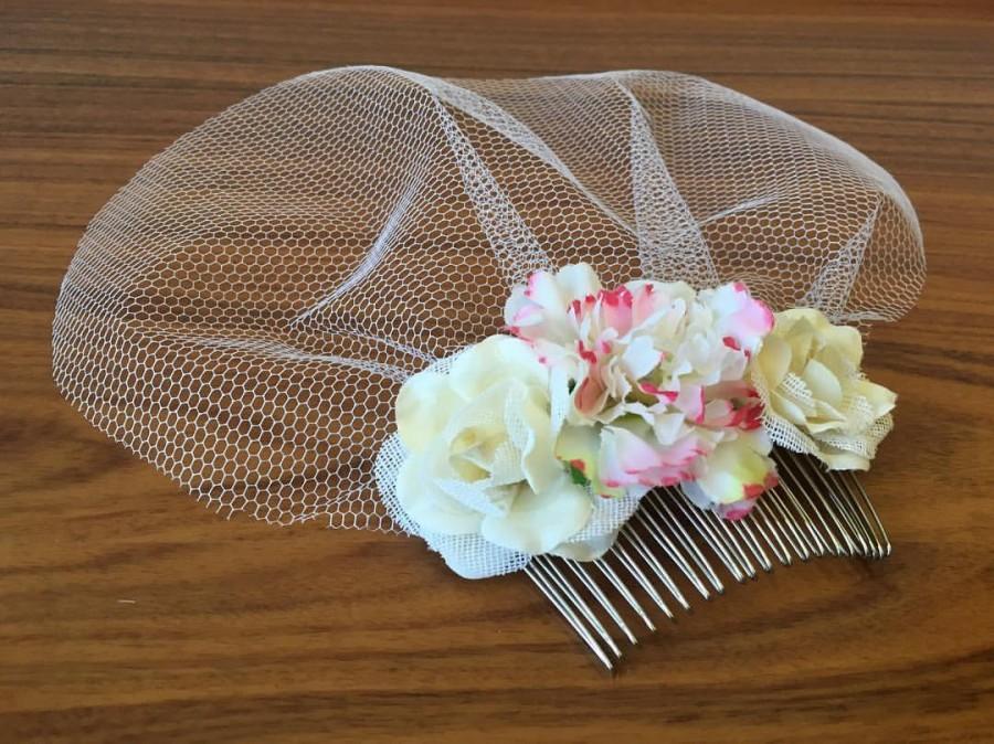 Wedding - Mini Birdcage Veil White birdcage veil Ivory birdcage veil flower Birdcage Veil bridal Birdcage Veil Wedding Fascinator veil flower comb