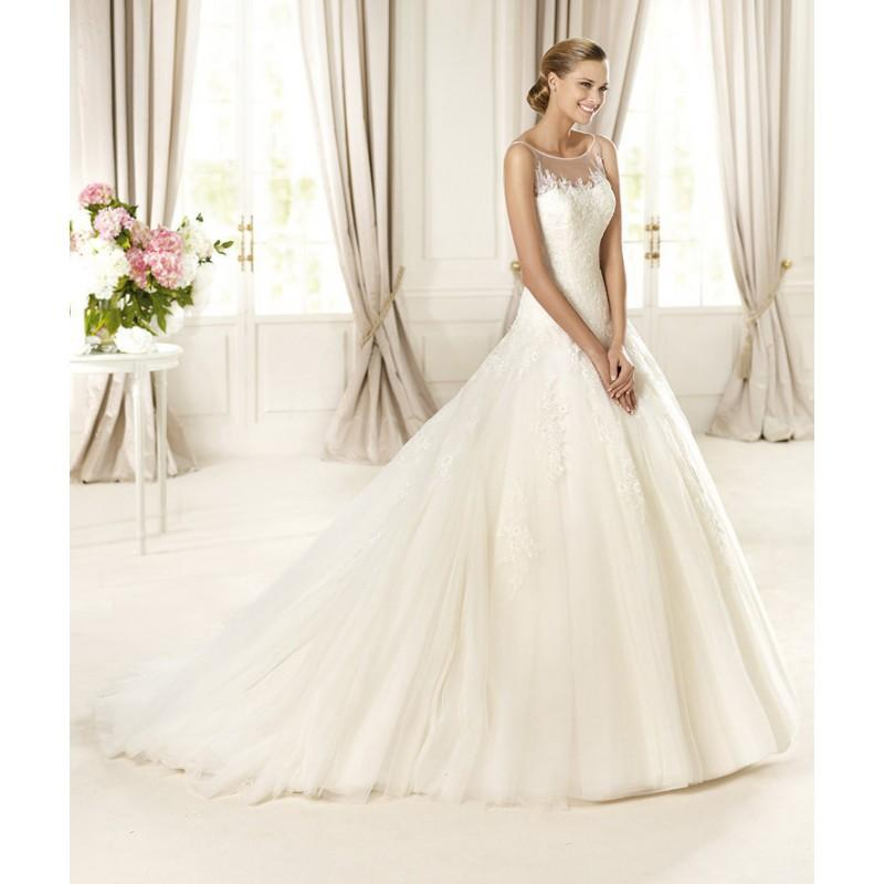 Wedding - Honorable A-line Bateau Lace Sweep/Brush Train Tulle Wedding Dresses - Dressesular.com