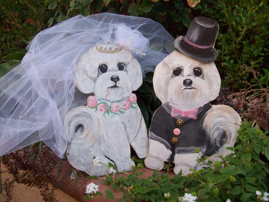 Свадьба - Life Size Dog Bride Groom Wedding Yard Art. Hand made Life Size Your dogs or cats hand painted to look like your wedding.