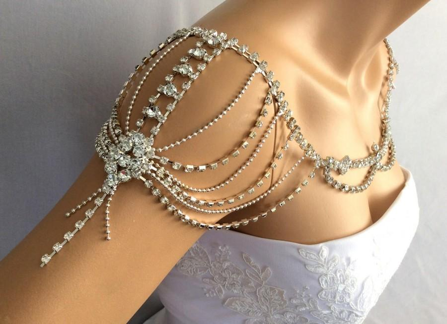 Wedding - Wedding Shoulder Jewelry, Wedding Dress Accessories, Bridal Shoulder Necklace, Rhinestone Shoulder, Wedding Shoulder Necklace - $92.00 USD