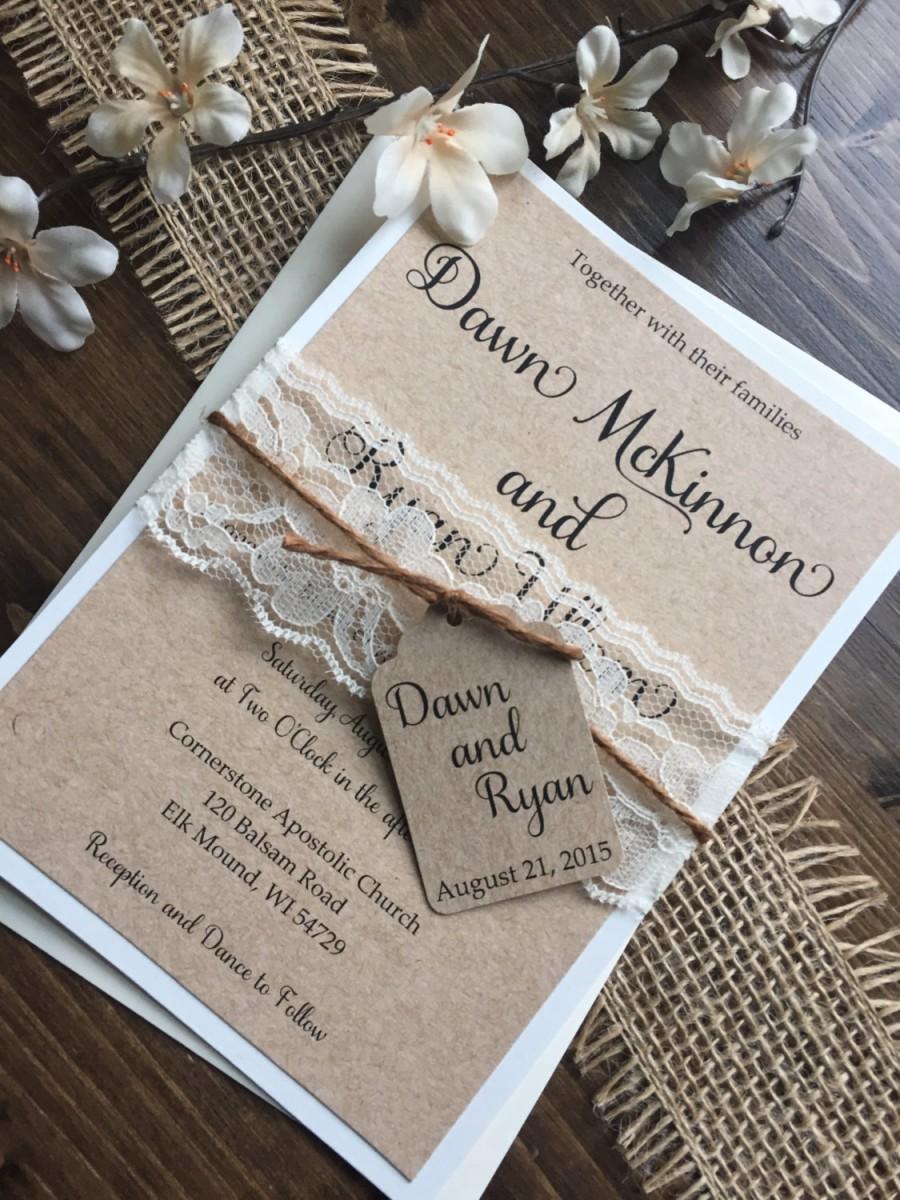 Wedding - Rustic Wedding Invitation, Vintage Wedding Invitation, Lace Wedding Invitations, Barn Wedding Invitation, Country Wedding Invitations