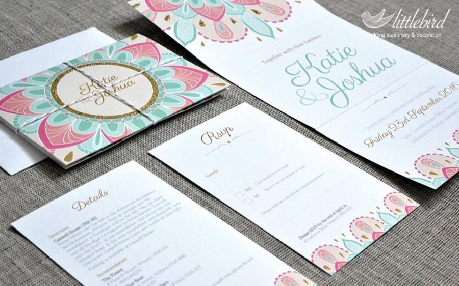 Wedding - Wedding stationery - SAMPLE wedding invitation, includes details card and rsvp, glitter, indian pattern design (A6 folded)