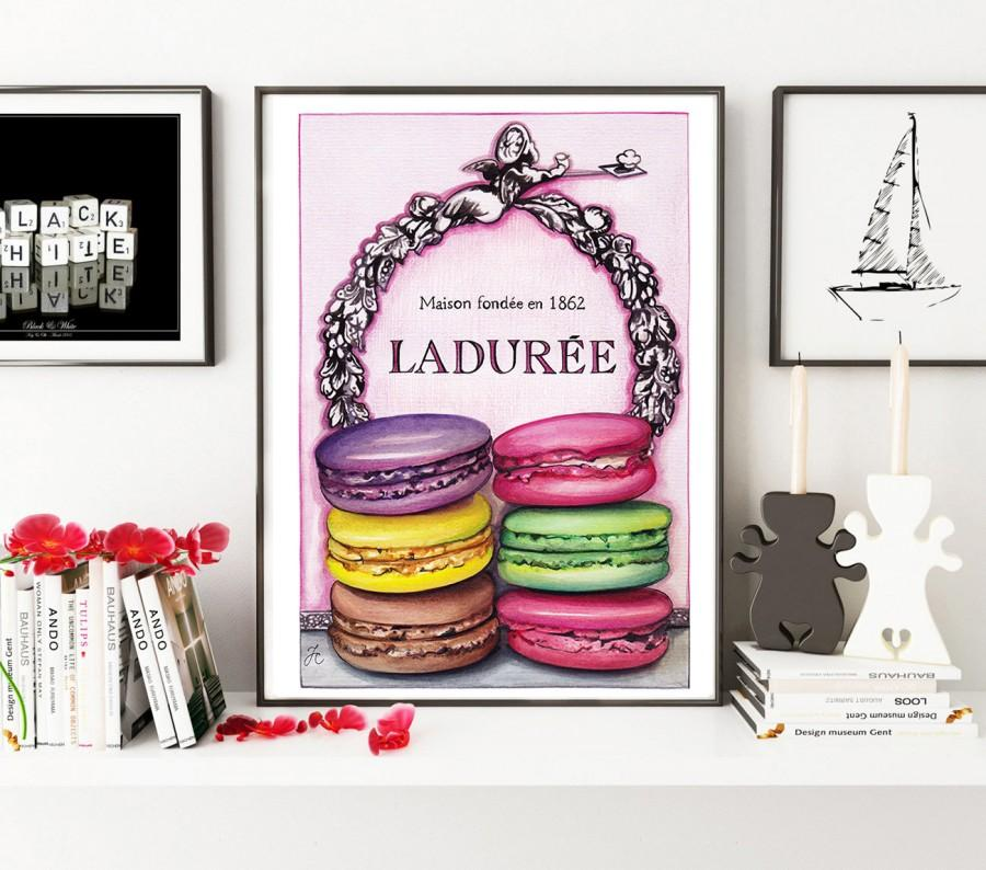 زفاف - Macarons Laduree, food art, food print, Macarons print, Laduree print, fashion illustration, fashion print, watercolor food art