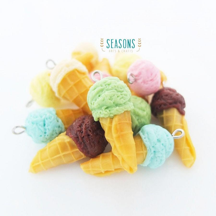 Wedding - Ice Cream Cone Clay Charm (6 pcs) - Jewelry Supply - Miniature Food - Food Jewelry - Planner Charm - Gift for Her - DIY Project