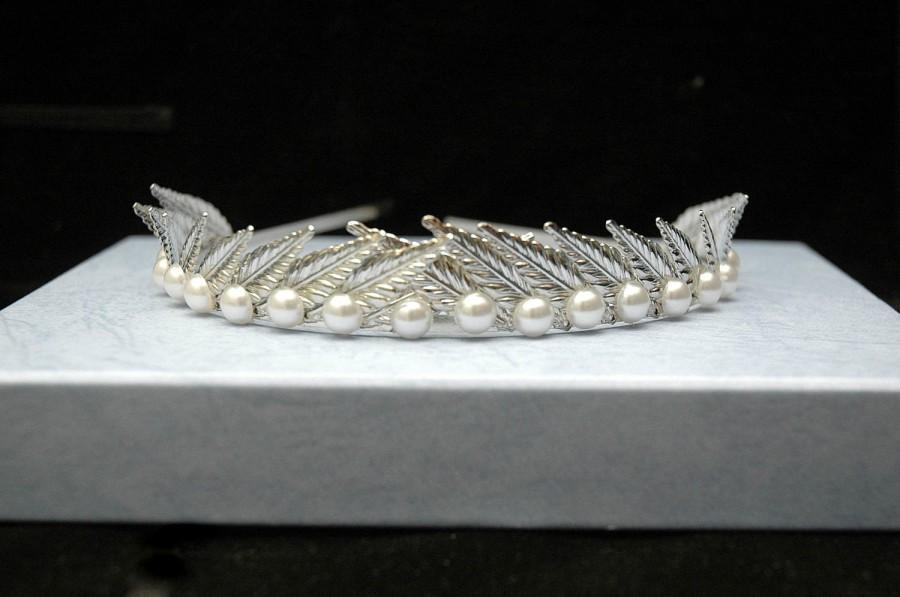 Mariage - Leaf Pearl Headband, Silver Leaf Crown, Leaf Headpiece, Greek Goddess Headband Crown Wedding Leaf Hair Piece, Tiara - $33.00 USD