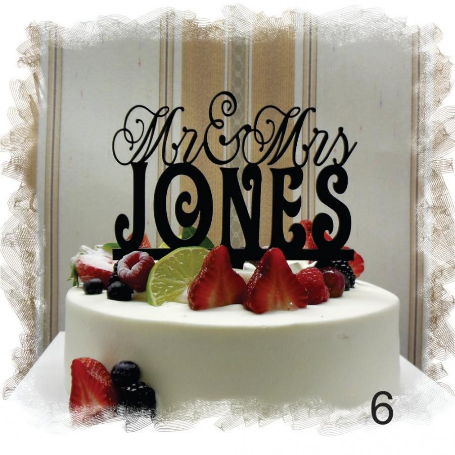 Mariage - Wedding Monogram Mr and Mrs Cake Topper With Your Last (Family)Name - Custom Wedding Cake Topper