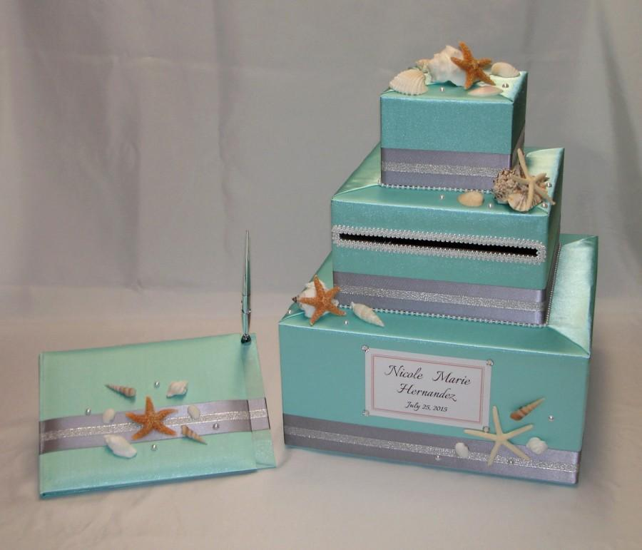 Beach Theme Wedding Card Box And Matching Guest Book And Pen Sea