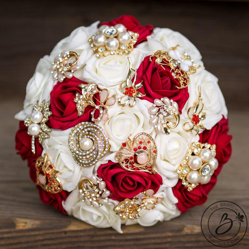 red and gold brooch bouquet red and ivory brooch wedding