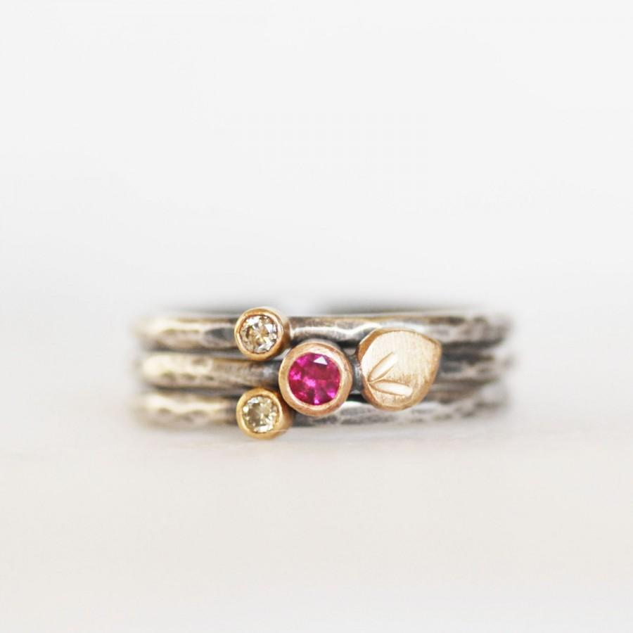 Mariage - Ruby and Diamond Bloom Stacking Rings - Ruby Brown Diamond 18k Gold and Sterling Silver Petal Stacking Ring set of 3