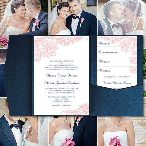 "Свадьба - Pocket Fold Wedding Invitations ""Vintage Lace"" Blush Pink & Navy Blue Printable Templates Make Your Own Invitations Any Color DIY You Print"