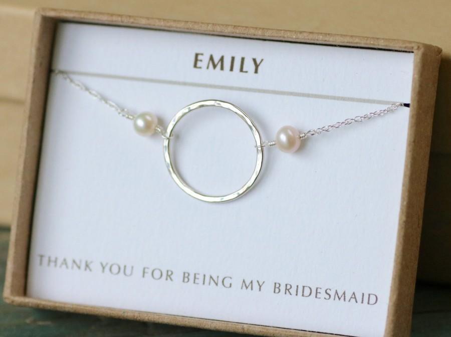 Infinity Necklace Pearl Silver Circle Necklace Bridesmaid Necklace