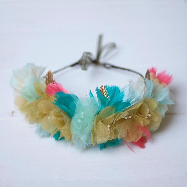 Свадьба - Glasgow - Floral Crown made with flowers, feathers and leaves