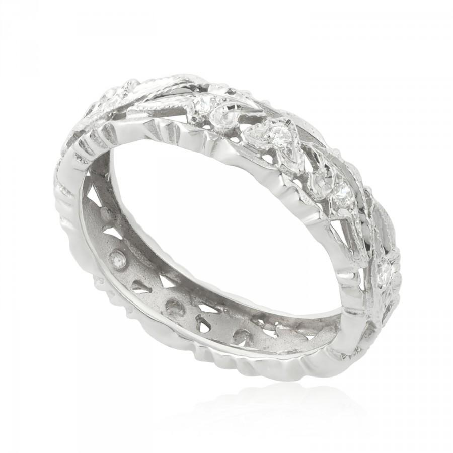 This is a photo of Unique Wedding Band, 47.47 CT Vintage Wedding Ring, 47K White Gold