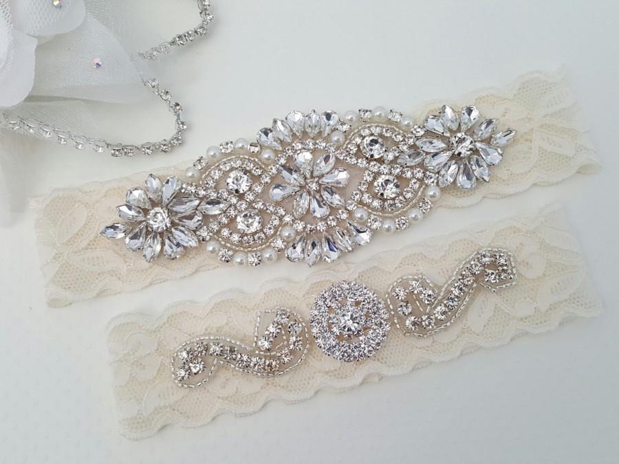 Hochzeit - Wedding Garter - Bridal Garter - Crystal Rhinestone Garter and Toss Garter Set - Style 795