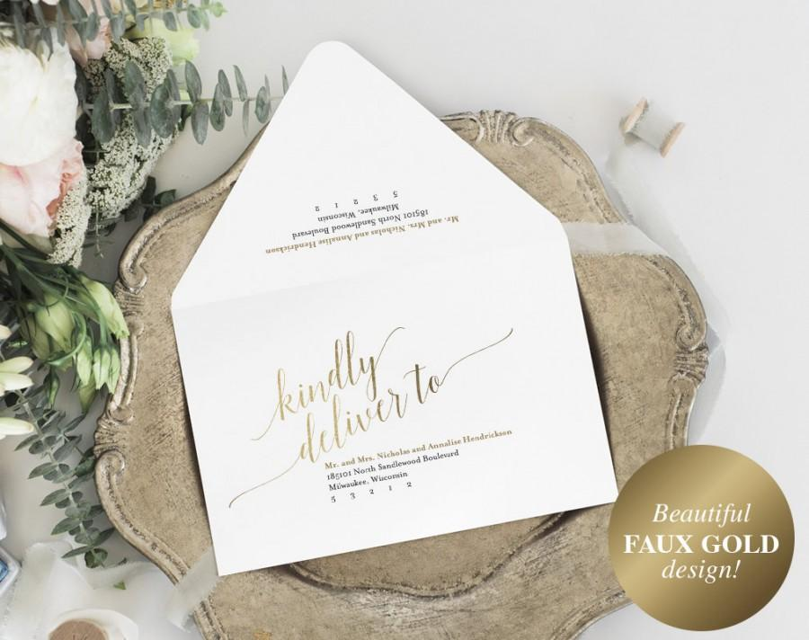 Wedding - Calligraphy Wedding Envelope, Envelope Printable, Gold Wedding, Editable Envelope Template, A7, RSVP, PDF Instant Download #BPB324_34