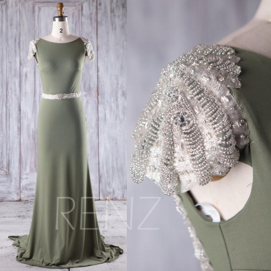 Hochzeit - 2017 Camouflage Green Chiffon Bridesmaid Dress Slim, Beading Cap Sleeves Wedding Dress Train, Open Back Evening Gown Floor Length (X080B)