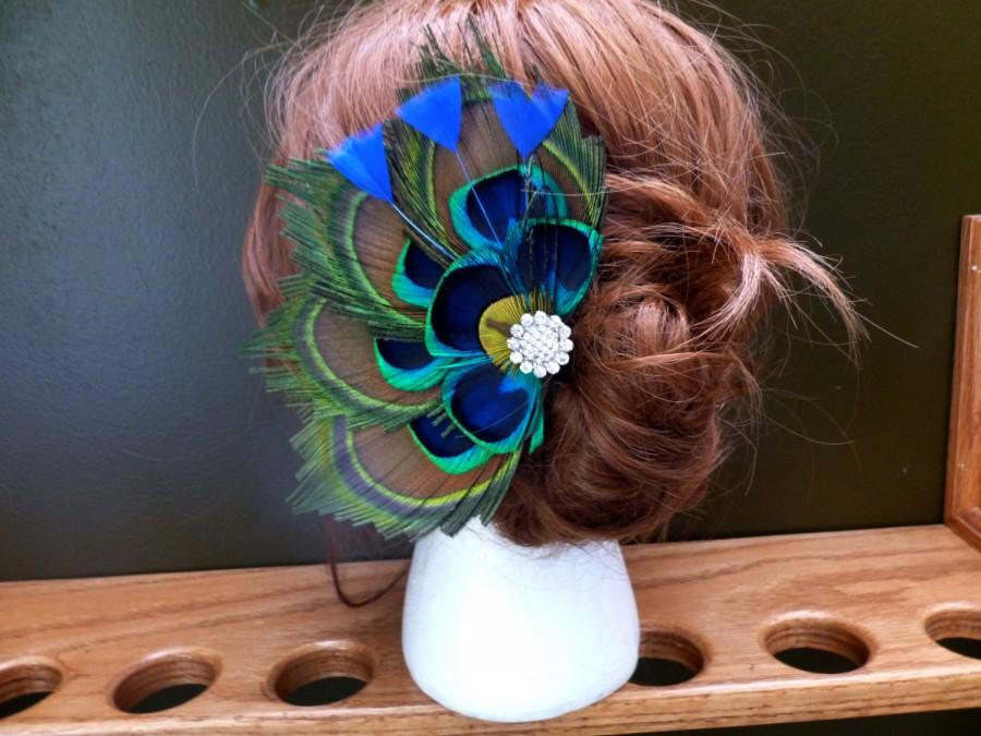 Mariage - Bridal peacock feather hair accessory, hair clip, comb, customizable