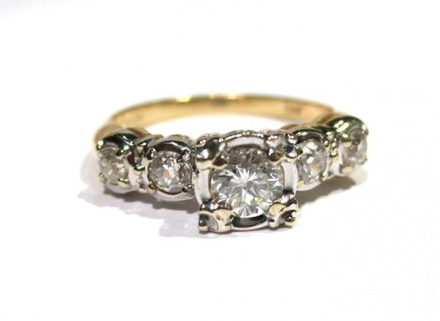 Mariage - Vintage Diamond Engagement Ring, 14K Yellow Gold & White Gold, Bridal Jewelry, With 4 Side European Cut Diamonds, Circa 1950's