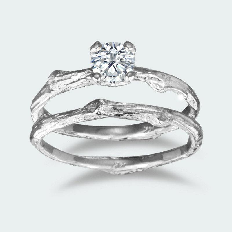 Hochzeit - Prong setting round Moissanite twig engagement ring / 14k white gold / organic unique bridal set