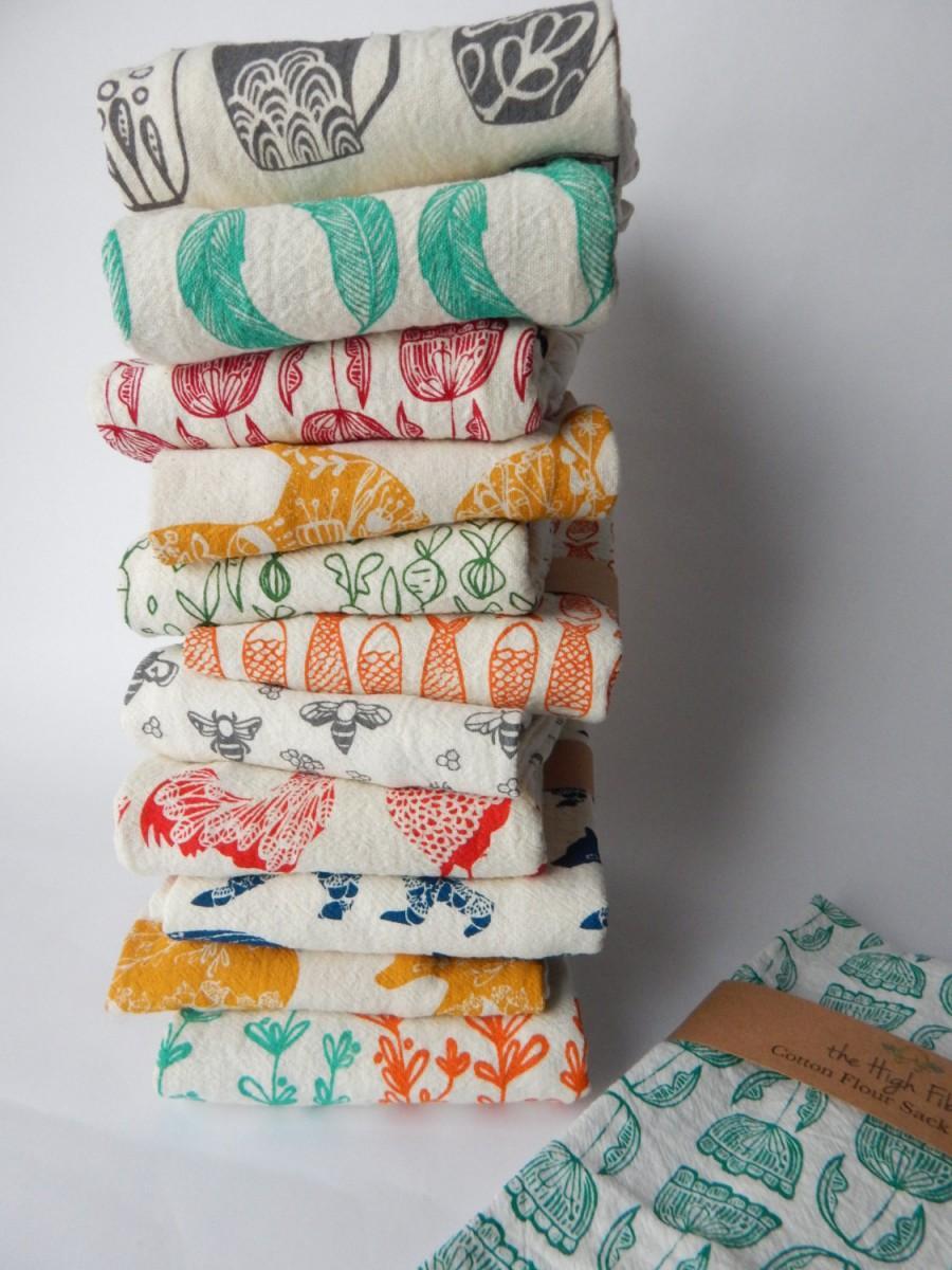 زفاف - Kitchen Towel, Hand Printed, Choose Your Set of 3, Hostess Gift