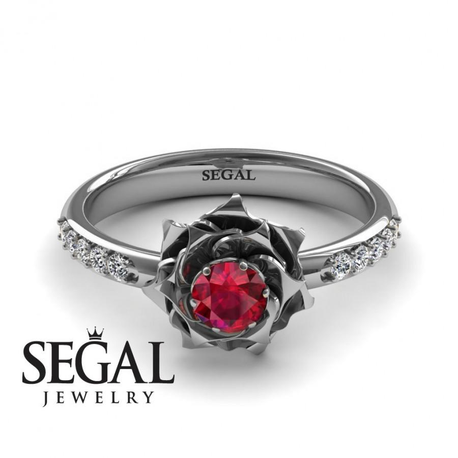 Свадьба - Rose Engagement Ring 14K White Gold Rose Ring Flower Engagement ring Antique Engagement Ring Ruby - Elena Rose Engagement Ring