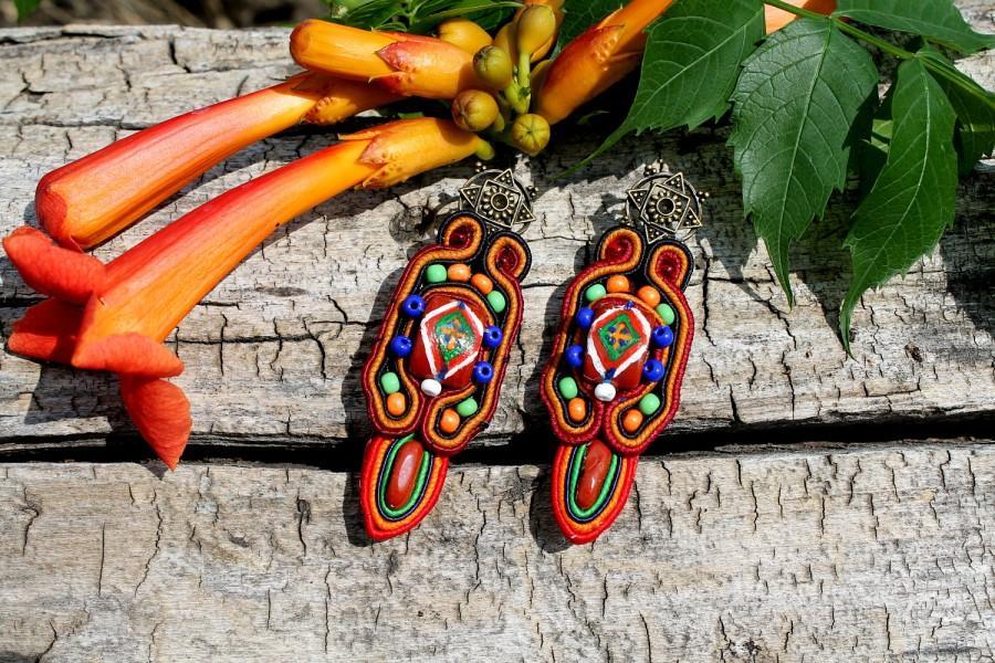 زفاف - Cute bright earrings. Ethnic earrings. A pattern on a stone. Earrings with jasper