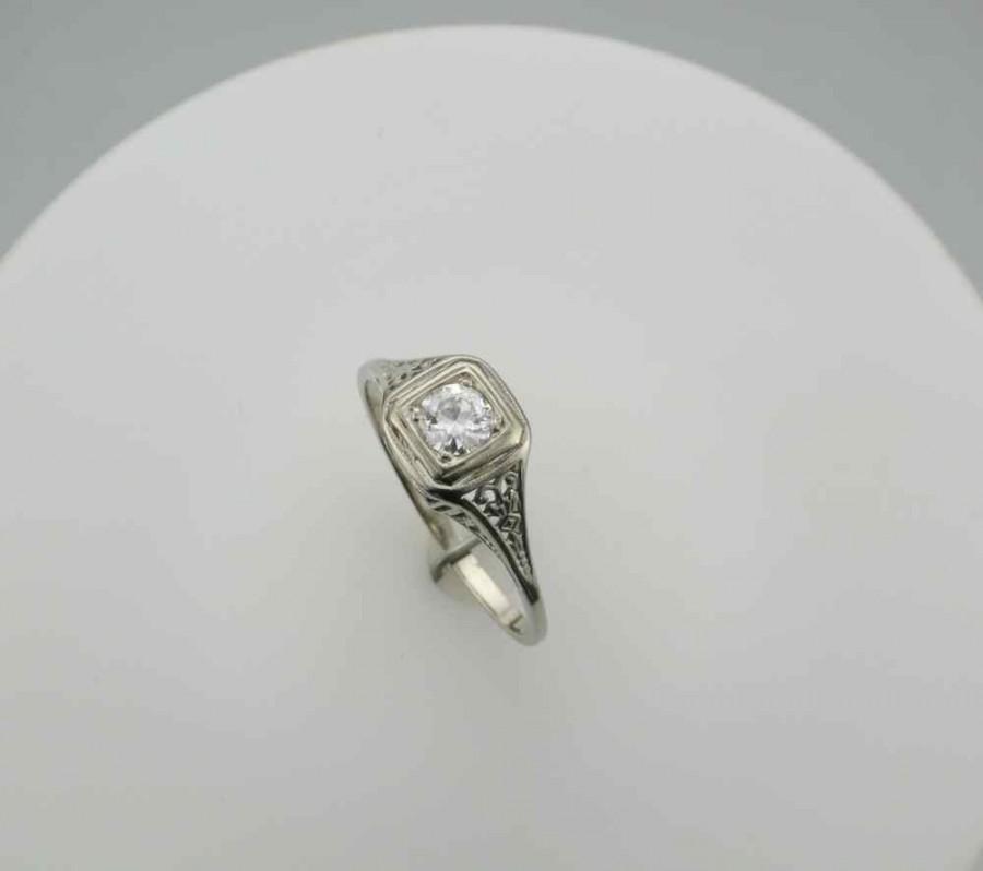 Свадьба - Edwardian Filigree Diamond Ring 14 Karat White Gold  Engagement Ring, Right Hand Ring with 0.35 Carat Diamond