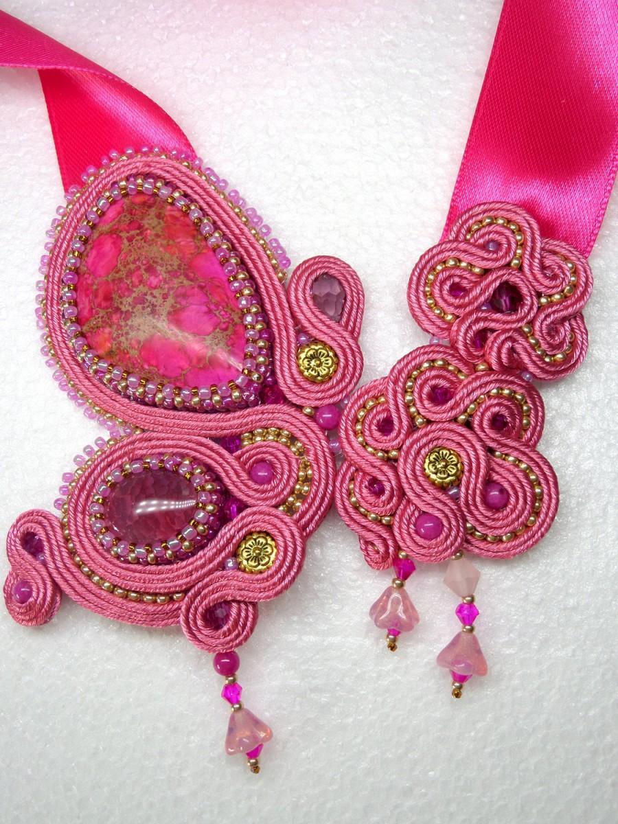 """زفاف - Handmade Soutache Necklace """"In the garden"""", Butterfly and flowers - Unusual bright necklace with variscite, agate """"dragon veins"""""""