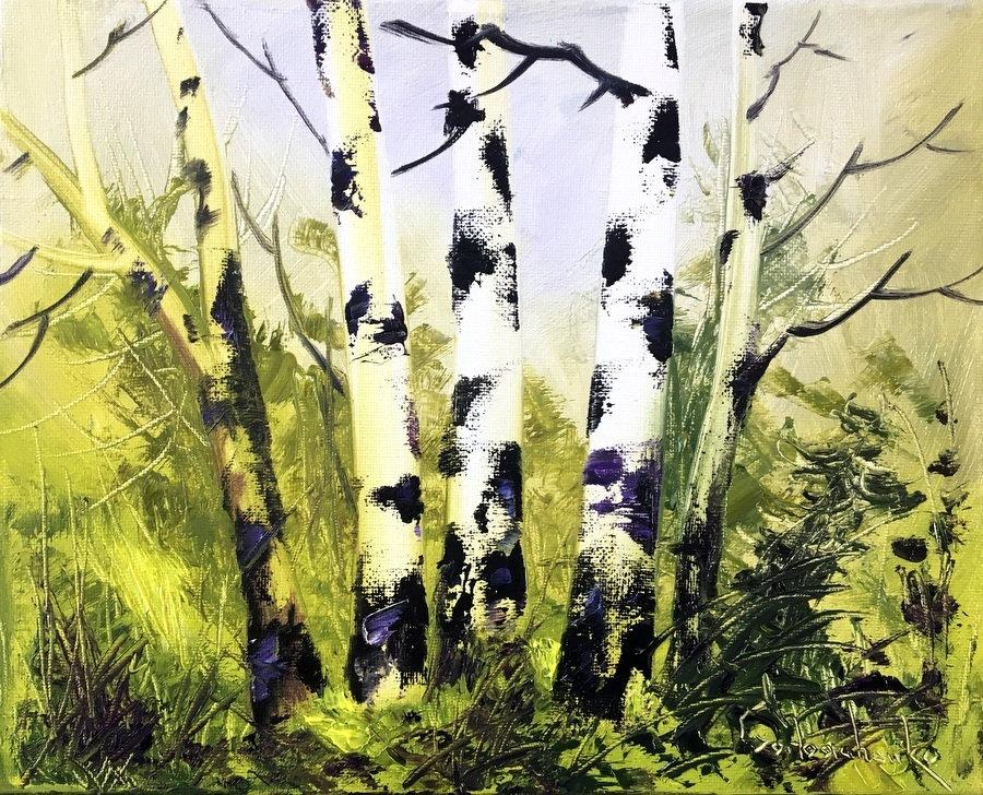 Birch Trees Oil Painting, Original Art Painting, Landscape Painting ...