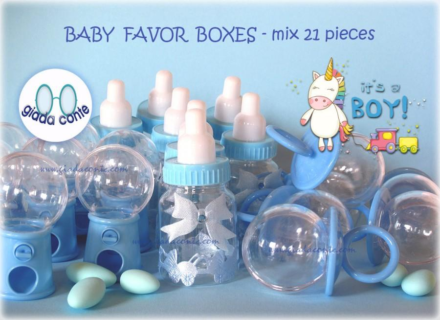 Свадьба - BABY FAVOR BOXES Boy/Girl mix 21 pieces-christening boy/girl PVC mix 21 pieces