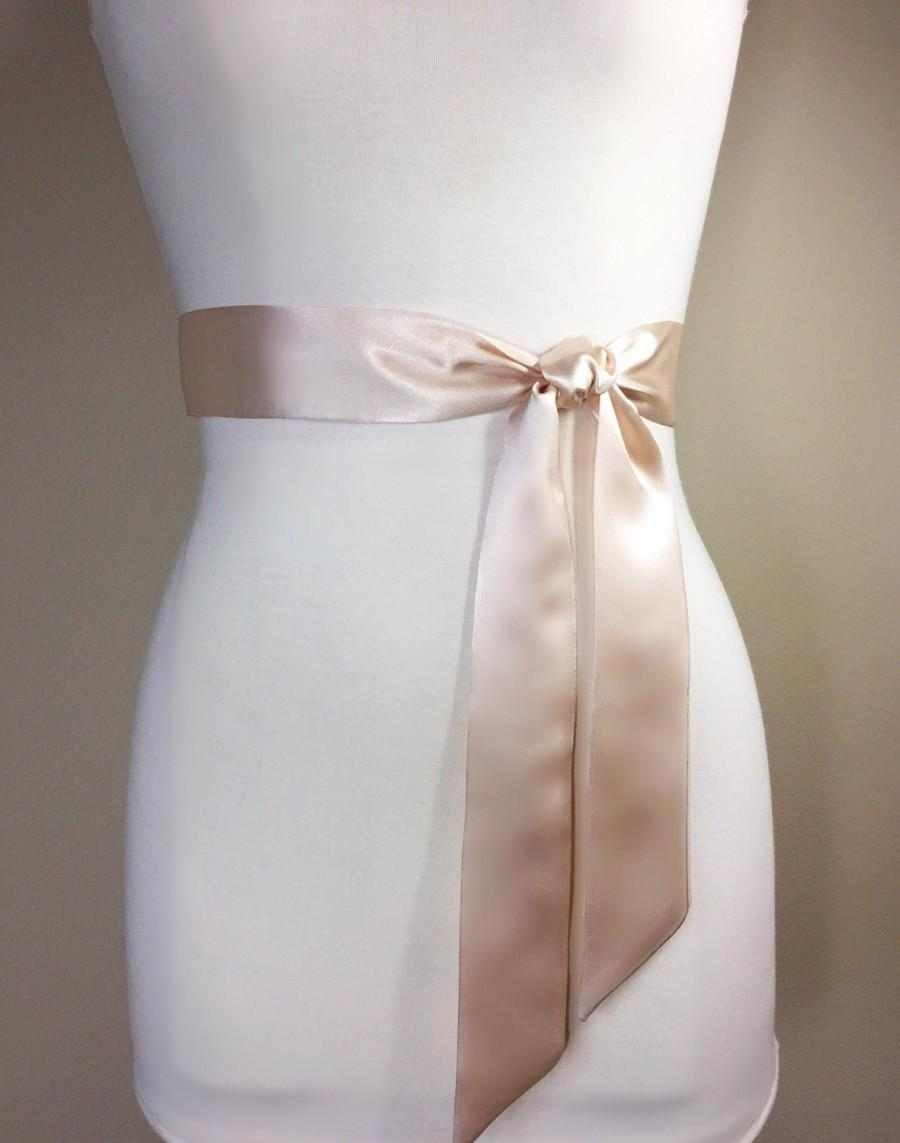 Mariage - Narrow Light Champagne Sash, Light Champagne Satin Sash, Champagne Beige Sash Belt, Bridesmaid Sash, Wedding Sash, Bridal Sash, Satin Swank