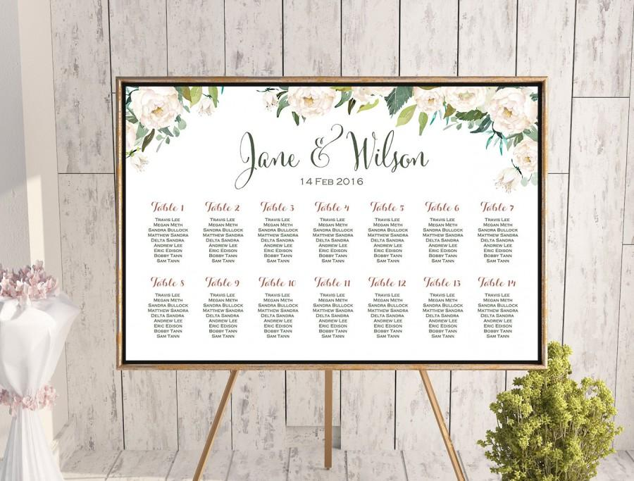 Mariage - White Flower Printable Custom Wedding Seating Chart, Wedding Seating Poster, Wedding Seating Sign, Wedding Seating Board - TH61 dd WC141