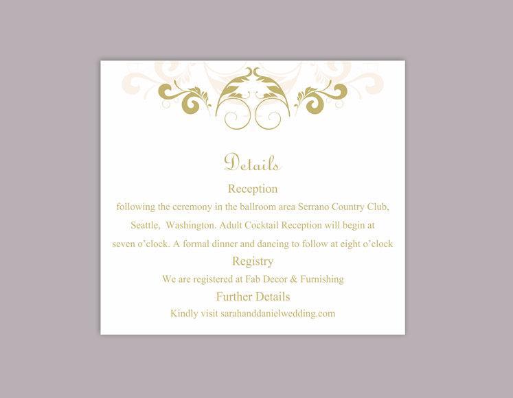 Свадьба - DIY Wedding Details Card Template Download Printable Wedding Details Card Editable Beige Green Details Card Elegant Information Cards Party - $6.90 USD