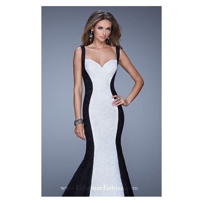 dd79e0020e1 Black White Color Block Mermaid Gown by La Femme - Color Your Classy  Wardrobe