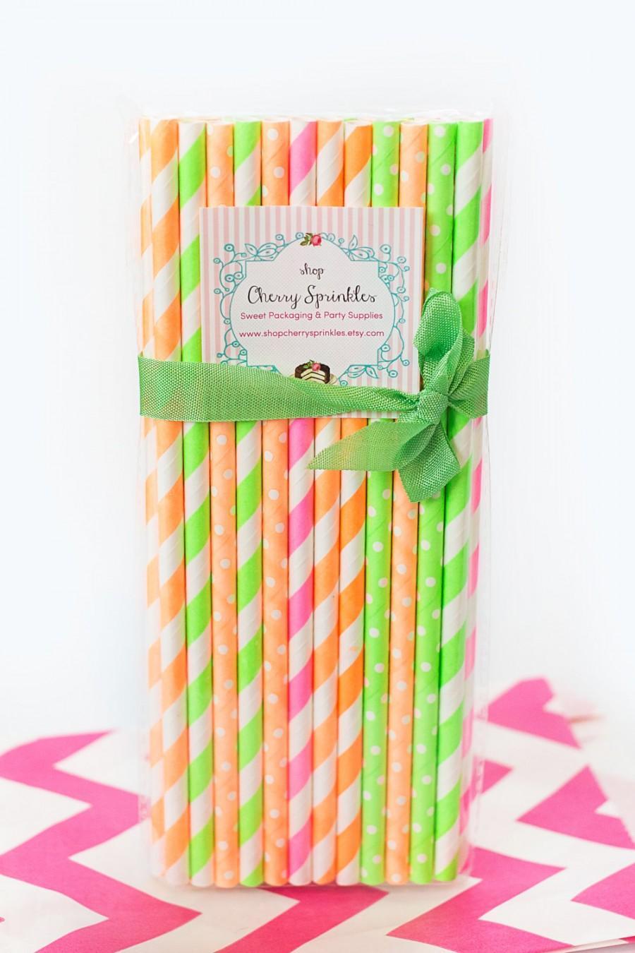 Mariage - Neon Paper Straws *NEON Straws -Paper Straws *Neon Pink *Neon Green *Neon Orange *Neon Party Decor - Birthday or Weddings *PINK -Tween Party