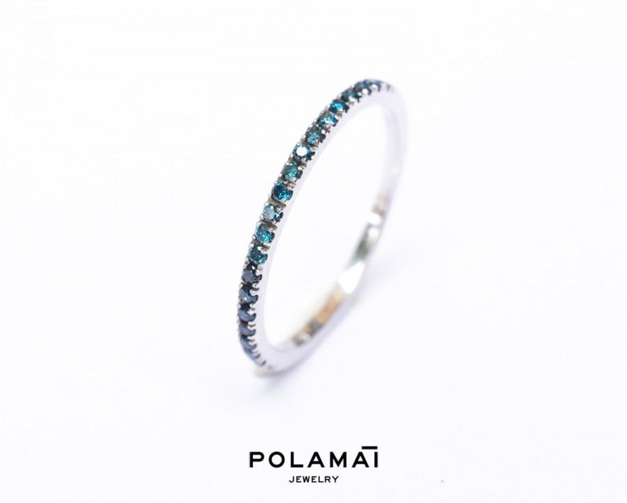 زفاف - Blue Diamond Eternity Ring 18k 14k . Full or Half Eternity Band . Wedding Band Micro Pave Ring . Solid Yellow White Gold . Polamai