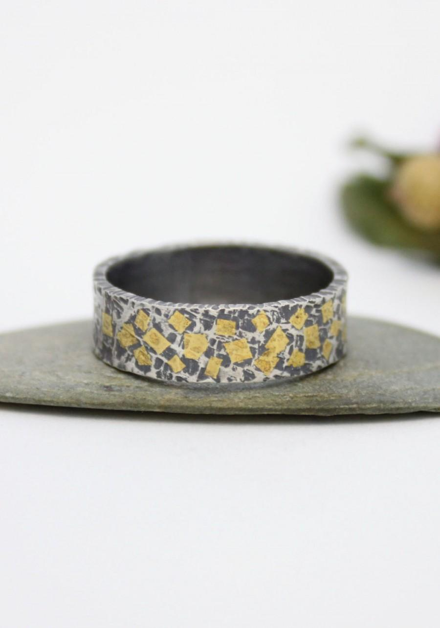 Свадьба - Wedding & Engagement Ring/ Gold Mosaic Sterling Silver 24K Keum-boo Ring / Hammered Silver Ring/ Rustic Silver Ring/ Keum-Boo Ring
