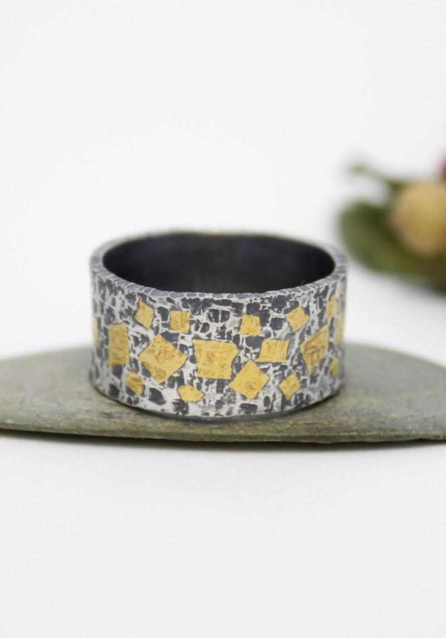 Свадьба - Wedding & Engagement Ring/ Gold Mosaic Silver 24K Keum-boo Ring / Hammered Silver Ring/ Rustic Silver Ring/ Keum-Boo Ring/ Engagement Ring