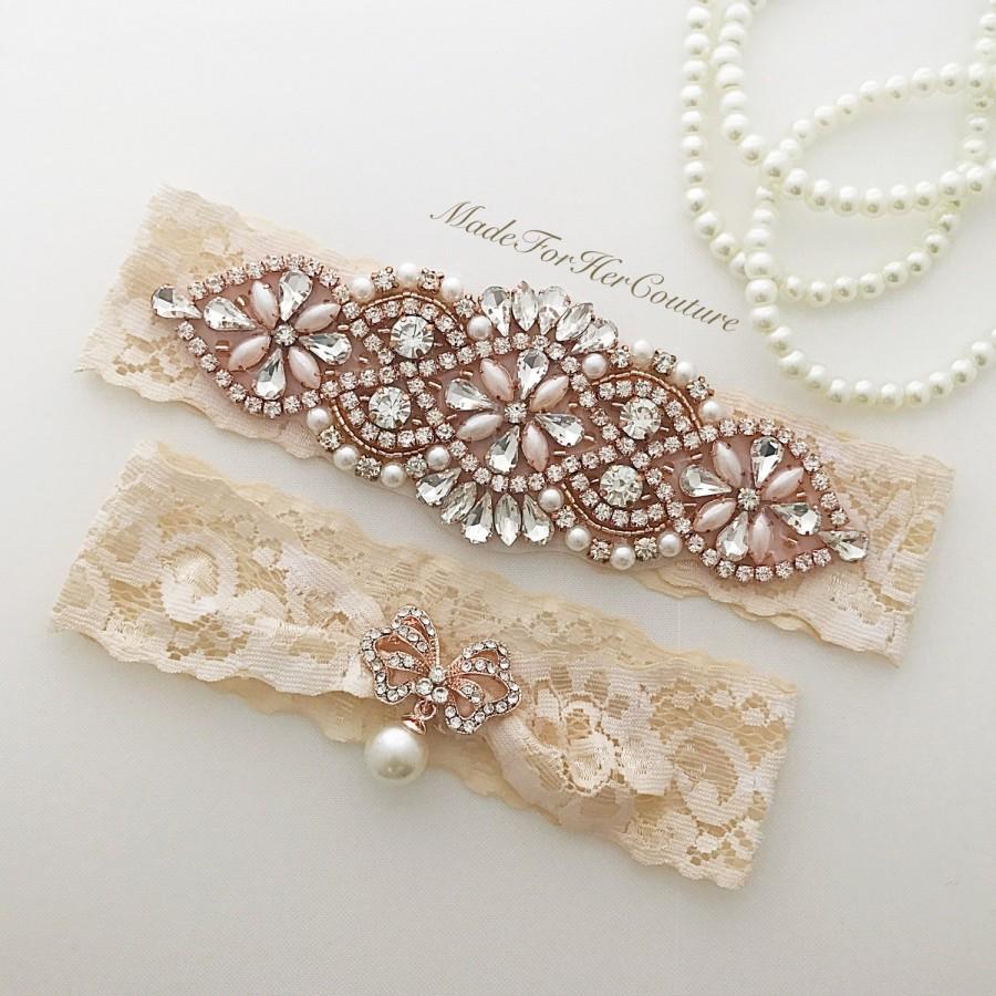 Свадьба - Rose Gold Wedding Garter Set, Rose Gold Bridal Garter Set, Rose Gold Garter Belt, Champagne Garter Set, Wedding garters, Garter Belts