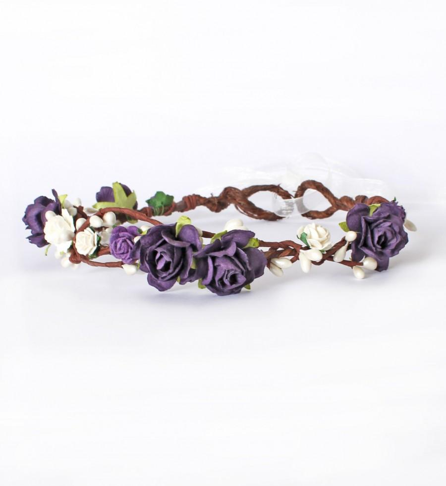 Purple And Ivory Rose And Pearl Pip Berry Floral Crown, Bridal ...