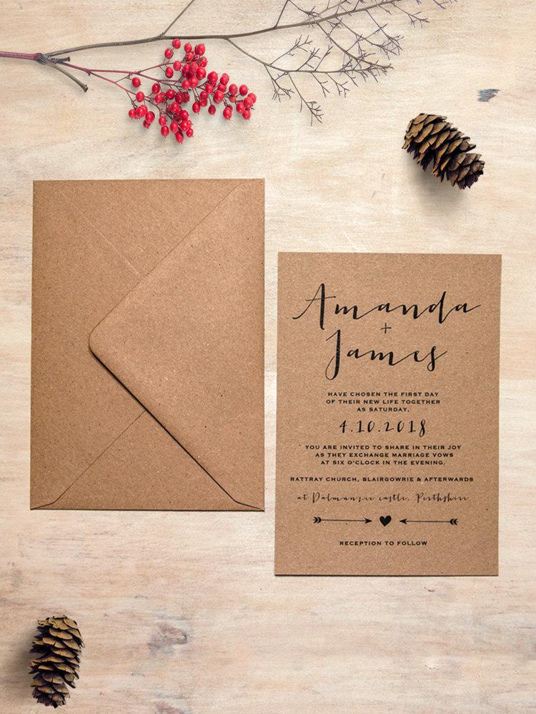 Mariage - Simply Charm Eco Kraft Wedding Invitation Set - Eko Kraft Wedding Invitations - Sample Pack or Deposit - Wedding Invitations by Pineapple
