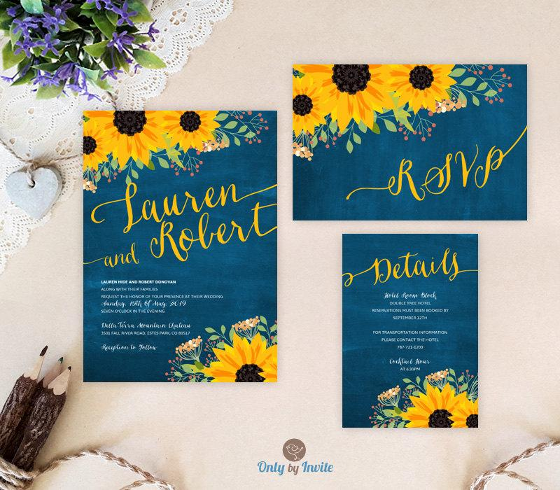 Wedding Invite Enclosures: Sunflower Wedding Invitation Packages: Invites, RSVP