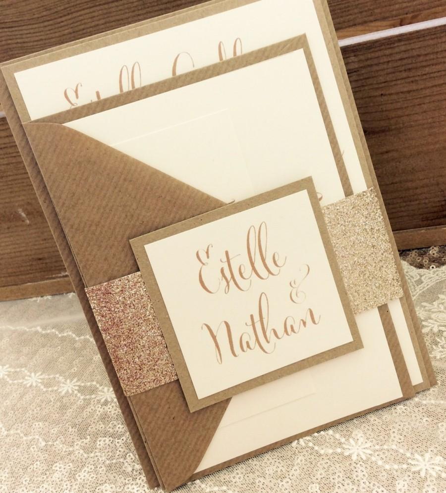 Mariage - 1 Rustic/Gold Glitter 'Estelle' Wedding Invitation/RSVP/Wish card sample
