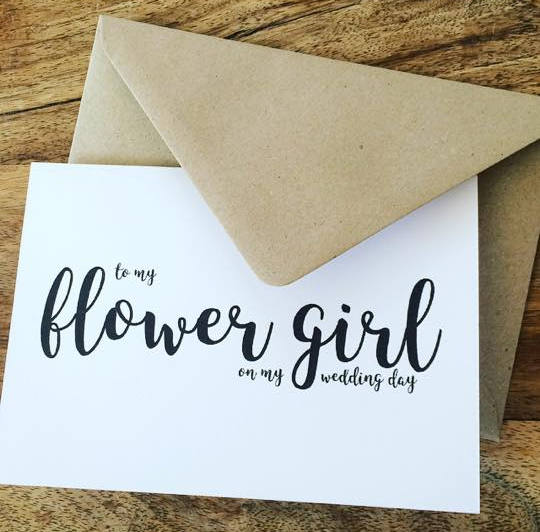 Mariage - To my flower girl on my wedding day card with brown kraft envelope