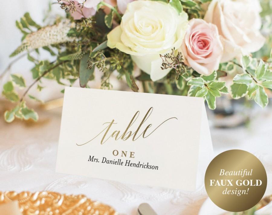 Hochzeit - Wedding Place Cards, Wedding Place Card Printable, Place Card Template, Wedding Printable, Gold Wedding, PDF Instant Download #BPB324_6