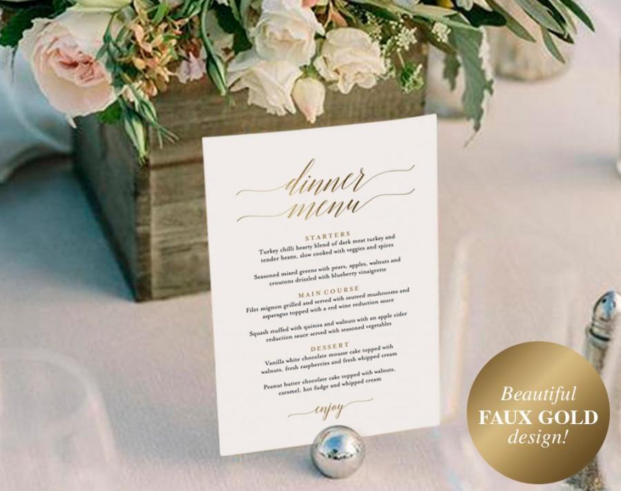 زفاف - Gold Wedding Menu, Wedding Menu Template, Wedding Menu Sign, Menu Board, Wedding Menu Printable, PDF Instant Download #BPB324_4B