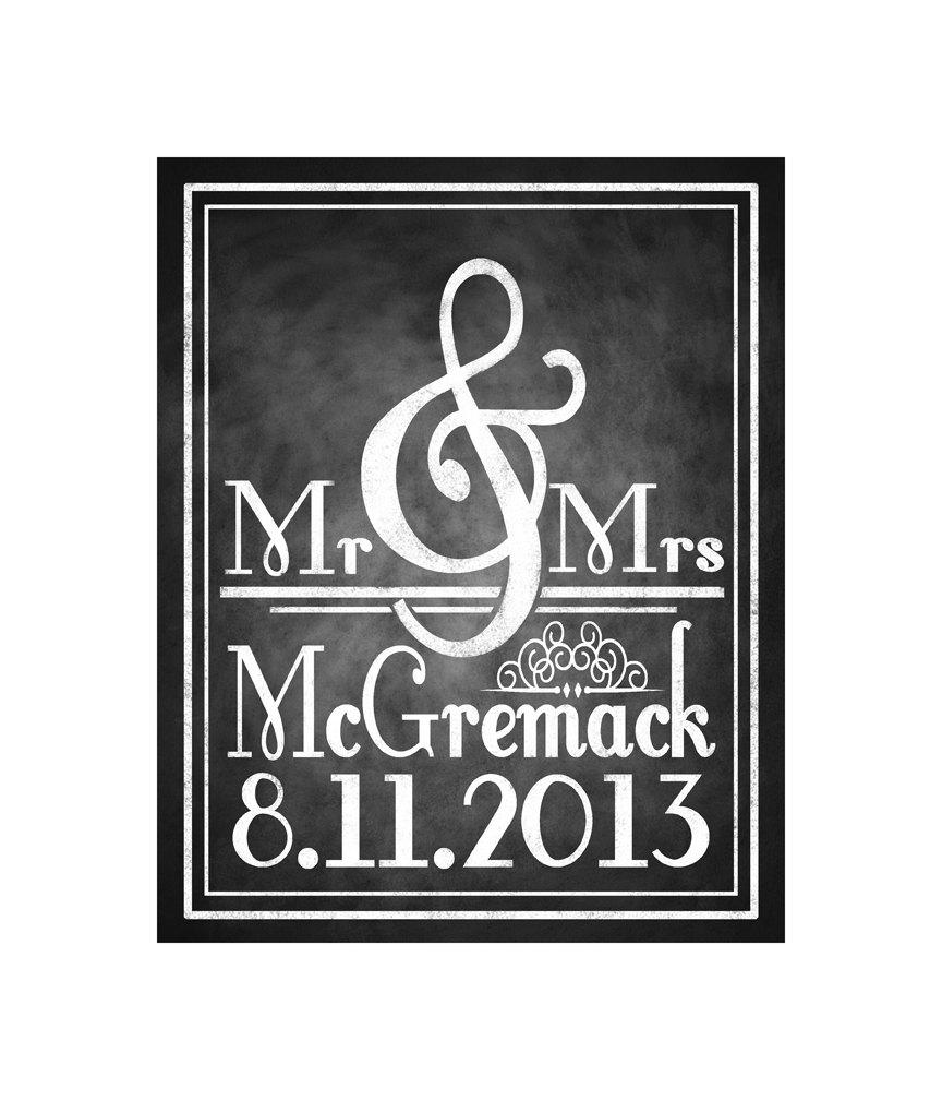 Hochzeit - Personalized Chalkboard Style Mr & Mrs Wedding sign or poster - DIY PRINTABLE wedding gift