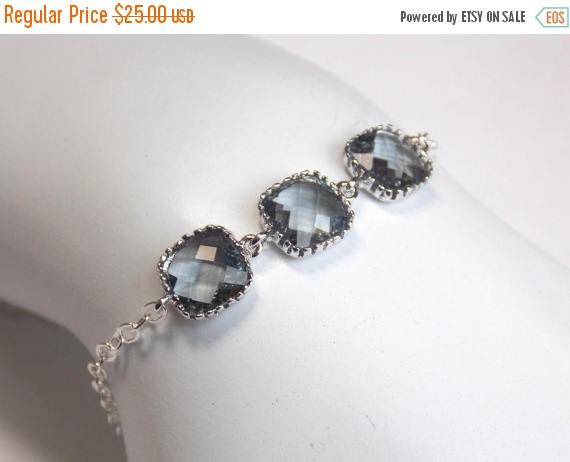Hochzeit - SALE Gray Bracelet, Charcoal Bracelet, Glass, Grey, Sterling Silver Bracelet, Wedding Jewelry, Bridal, Bridesmaids Bracelet, Bridesmaid Gift